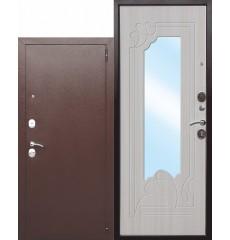 Входная дверь с зеркалом Ампир Белый ясень