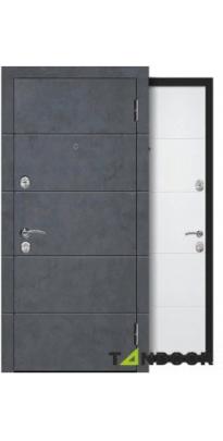 Дверь входная металлическая КРЕДО БЕТОН ГРАФИТ / БЕЛЫЙ ЯСЕНЬ