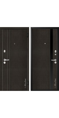 """Дверь входная металлическая """"МЕТАЛЮКС"""" М33 венге чёрное стекло"""