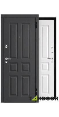 Дверь входная металлическая МАГНАТ ШАГРЕНЬ ГРАФИТ / ШАГРЕНЬ БЕЛАЯ