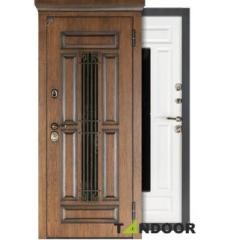 Дверь входная металлическая со стеклопакетом ТИТУЛ АРТВУД ТЕМНЫЙ ОРЕХ/ ДУБ БЕЛОВЕЖСКИЙ