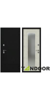 Дверь входная металлическая с зеркалом ТОПАЗ ЧЕРНЫЙ БУКЛЕ