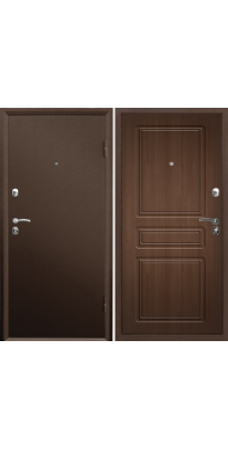 Дверь металлическая ПРАКТИК MDF медь антик/орех премиум