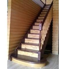 Лестница прямая сосна + берёза двухсцветная (стандарт)