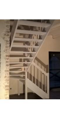 Лестница с поворотом на 180 градусов или П-образная с поворотными ступенями сосна + берёза (престиж)