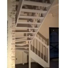 Лестница с поворотом на 180 градусов сосна + берёза (престиж)