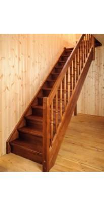 Лестница деревянная прямая сосна + берёза (стандарт)