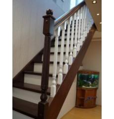 Лестница прямая двухцветная сосна + берёза серии (престиж)
