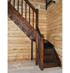 Лестница с поворотом на 90 градусов сосна + берёза (эконом)