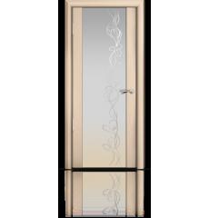 Дверь деревянная межкомнатная ОМЕГА 2 белёный дуб стразы